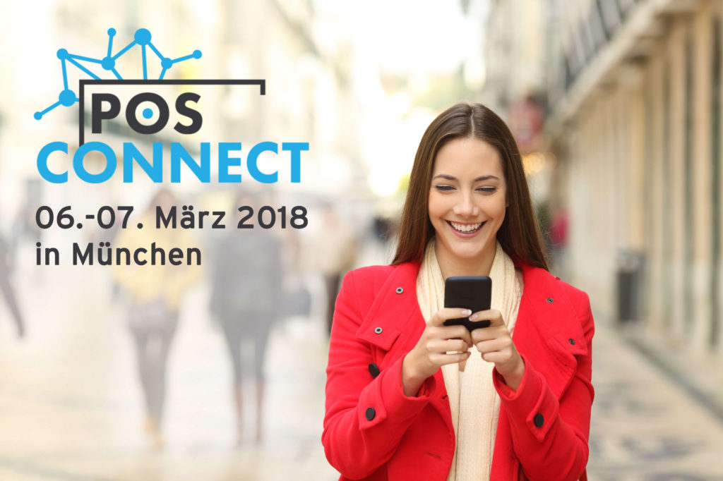 Woman in red jacket smiling at her Smartphone, POS Connect